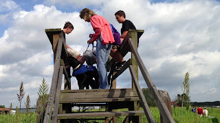 Melisa is getting Bo settled for a photo on the wooden tower.