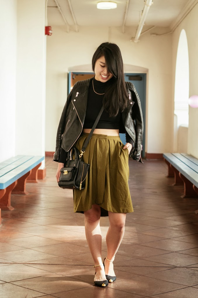 vintage pleated skirt, cropped turtleneck, leather moto jacket, phillip lim for target, sf fashion blogger, bay area fashion