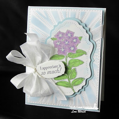 North Coast Creations Stamp sets: Floral Sentiments 7, Our Daily Bread Designs Custom Dies: Sunburst Background, Vintage Flourish Pattern, Vintage Labels, Mini Tags