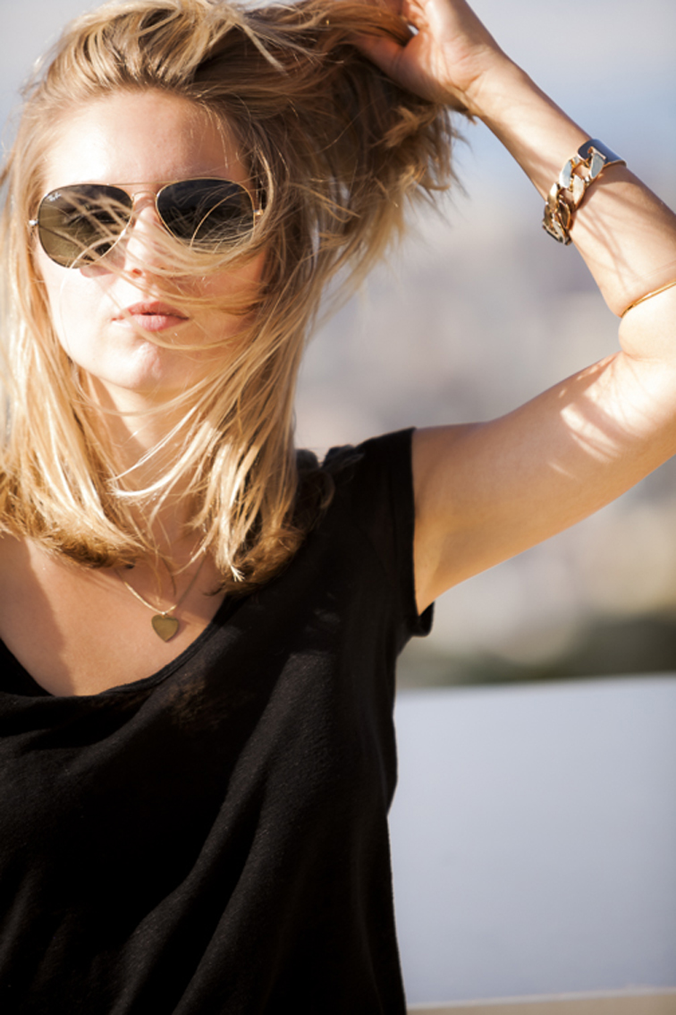 Windy Hair Ray-Ban Aviators Hysteric Co Gold