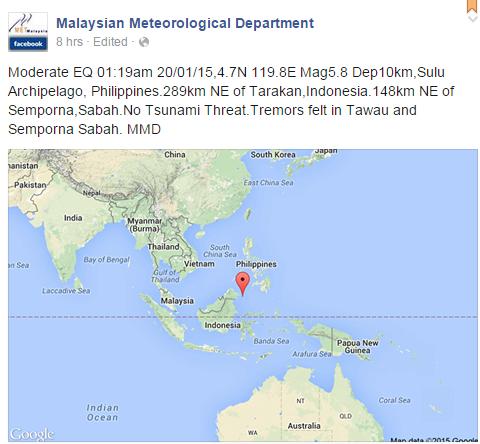 Gegaran Gempa Bumi Di Sabah 2015
