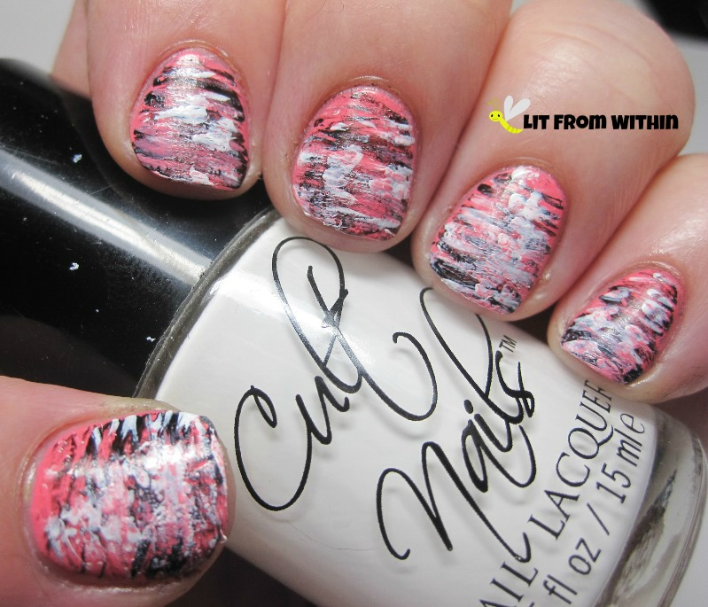 Cult Nails Nevermore and Tempest to make some zebra-esque strripes
