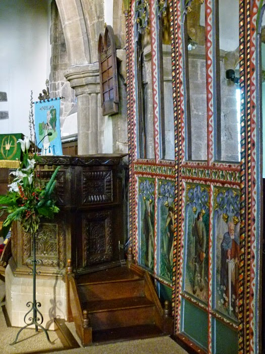 Rood screen, medieval, painted rood screen, Jacobean pulpit
