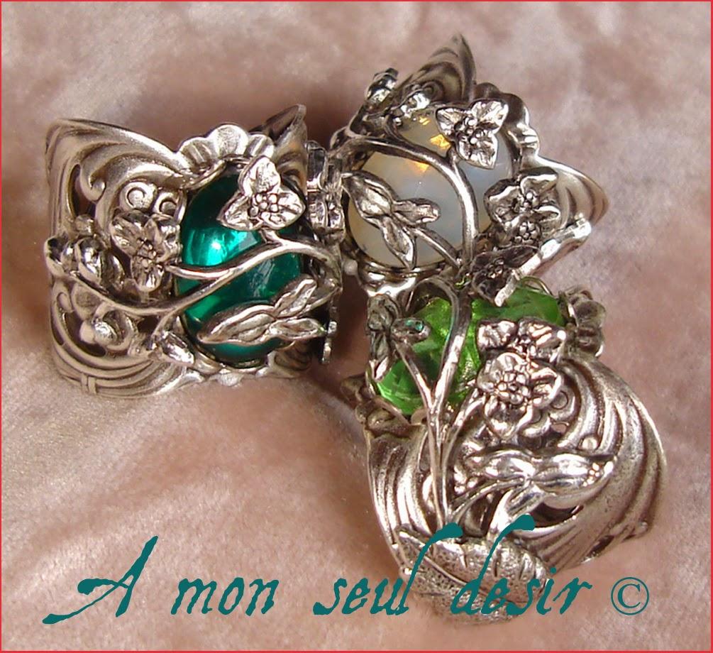 bague elfique floral végétal vert émeraude opale bijoux bijouterie elfe elf jewelry Arwen Jewellery elven ring fairy white opal green emerald