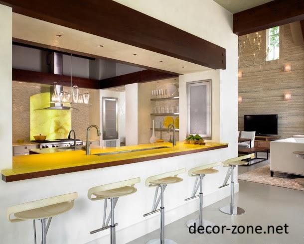 kitchen breakfast bar materials, glass kitchen bar countertop