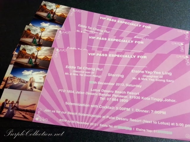 eifel tower, wedding invitation, paris, lotus desaru beach resort, johor, concert ticket, purple, romantic, love, December 2013 card
