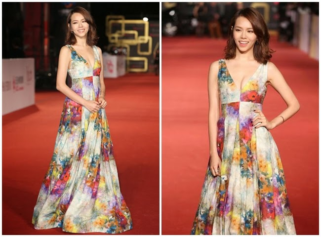 2014 Golden Bell Awards: Hsia, Yu-chiao wore the same Alice + Olivia gown with Melissa Ordway