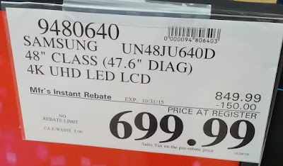 Deal for the Samsung UN48JU640DFXZA 48in Smart UHD LED LCD TV at Costco
