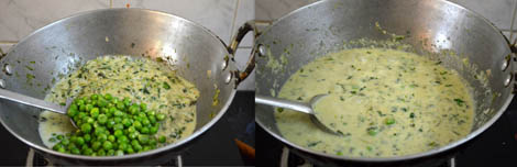 Methi muttar malai (white gravy)