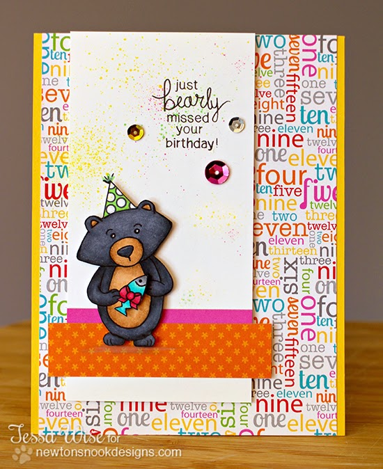 Winston's Birthday Bear Card by Tessa Wise for Newton's Nook Designs