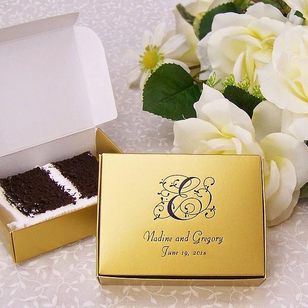 Folded Wedding Cake Slice Favor Boxes
