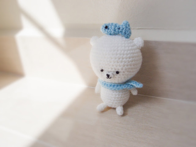 crocheted kom kom polar bear amigurumi