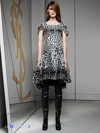 fashion, designer, Yves Saint Laurent, collection, photos, look book, leather, models, over-the-knee boots, short sleeves dress