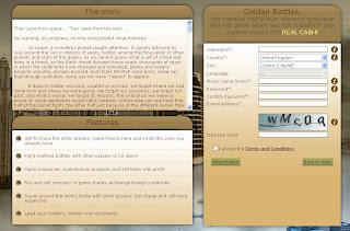 GoldenBattles registration menu