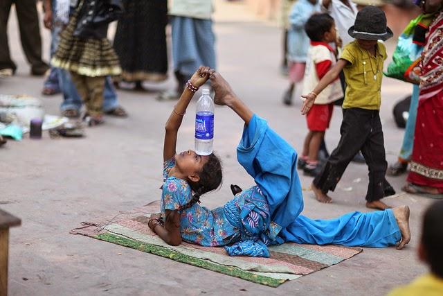 Girl performing street tricks