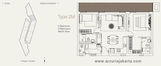 Tipe 2M Apartemen Arzuria Jakarta Selatan
