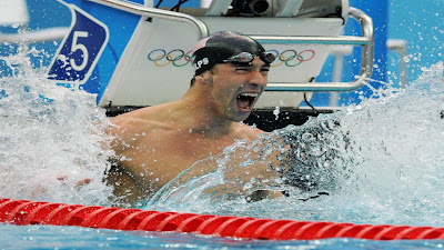 Michael Phelps Win Celebration