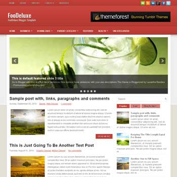 FooDeluxe blog template. download 4 column footer blogger template style. magazine template blogspot