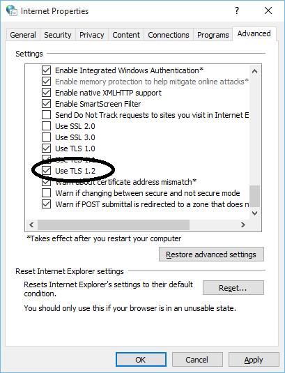 enable TLS 1.2