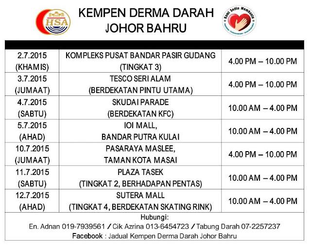 Jadual Kempen Menderma Darah Hospital Sultanah Aminah Johor Bahru Bagi Bulan Julai 2015