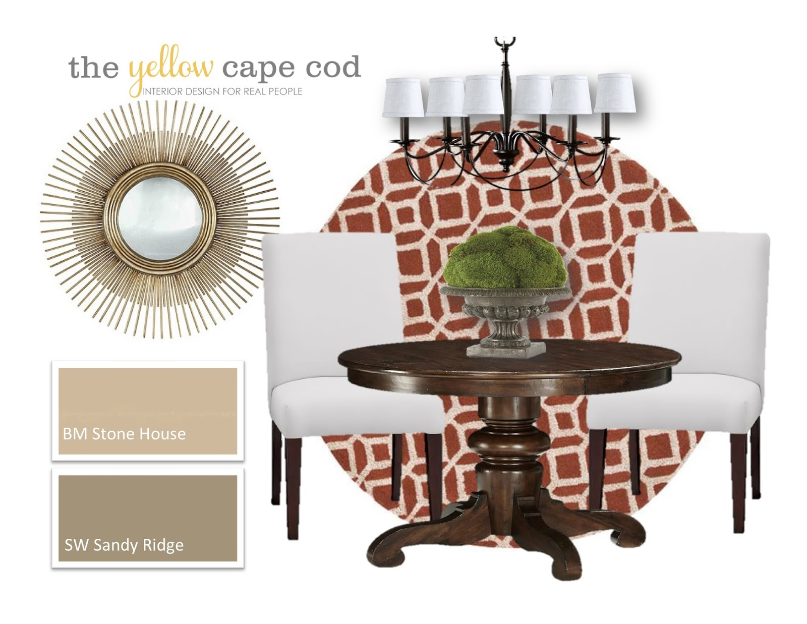 The Yellow Cape Cod: Neutral Dining Room And Family Room With Orange Accents Part 76