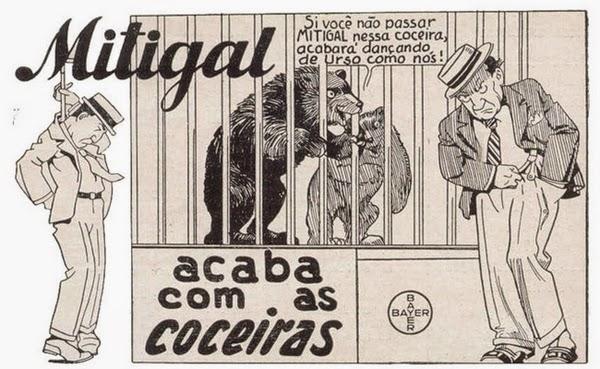 Propaganda do medicamento Mitigal, que combatia as coceiras da pele.