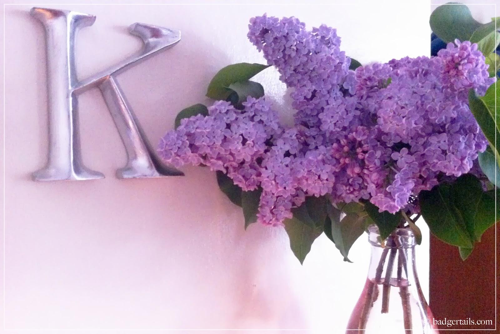 lilac flowers in vintage vase