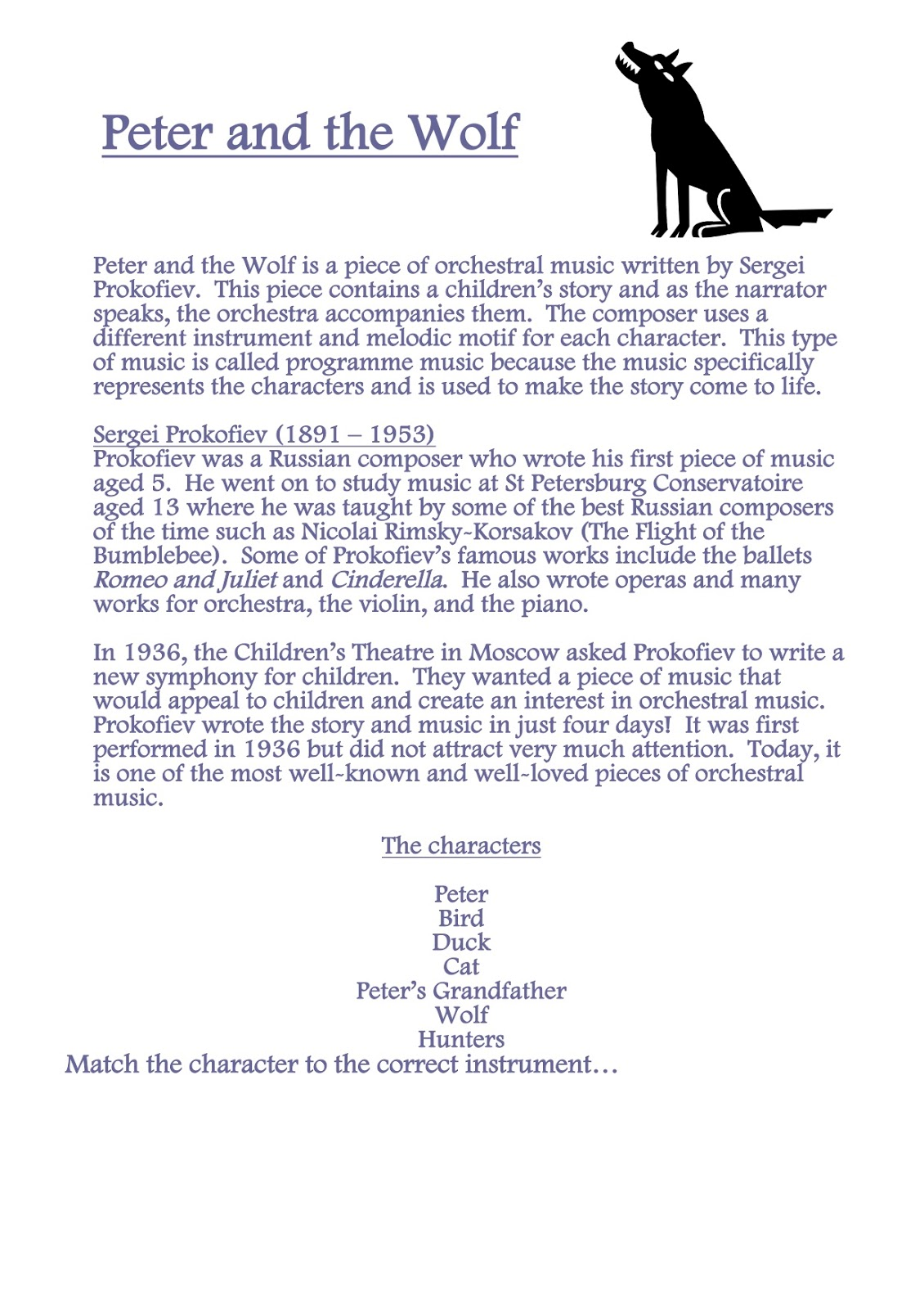 worksheet Peter And The Wolf Worksheet harris invictus music blog instruments of the orchestra resources watch this clip and answer questions on your worksheets