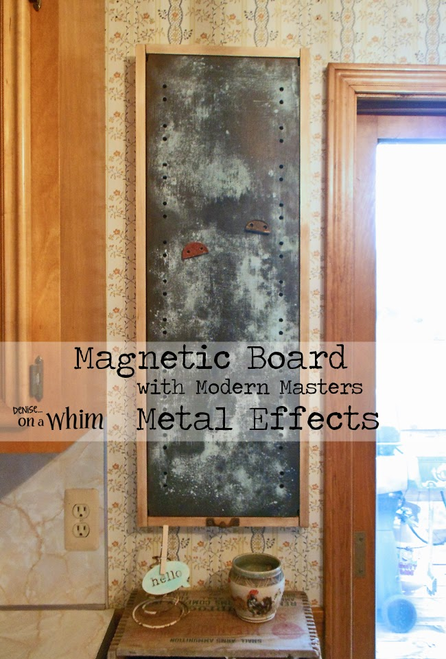 Magnetic Board Made with an Old Shelf and Modern Masters Metal Effects Paints | Denise on a Whim