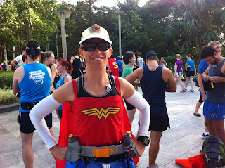 Athletic powerhouse dressed as wonder woman at the QUT classic
