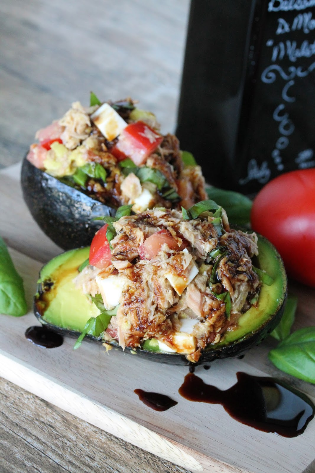 The Stay At Home Chef: Caprese Tuna Salad Stuffed Avocados