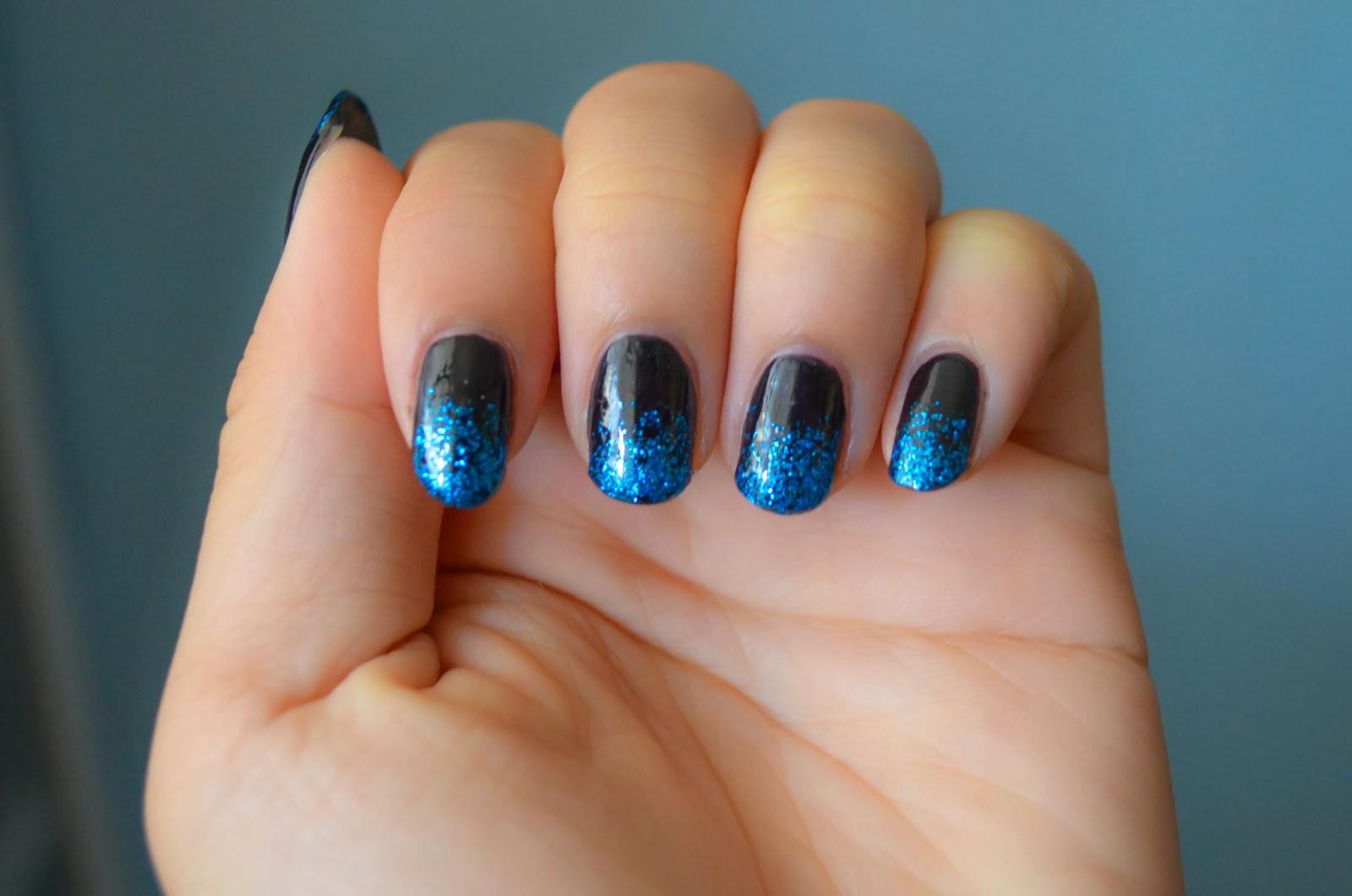 sparkle ombre black nail art manicure