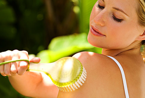 Exfoliate before you apply self-tanner. Exfoliation gets rid of flaky skin ...