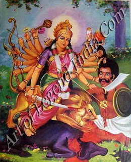 Durga slaying the buffalo demon, Mahishasura, symbol of ignorance