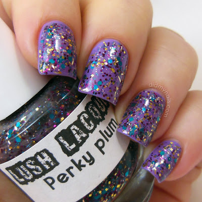 Lush Lacquer Perky Plum over OPI Do You Lilac It?