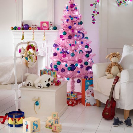 Kid39;s bedroom all setup for Christmas! A little tree with their choice