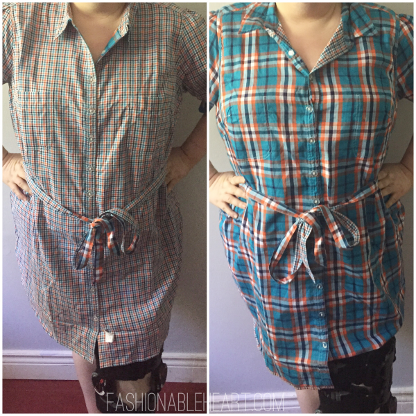 eshakti plaid reversible comfortable shirt dress plus size ootd outfit
