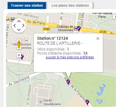 capture d'écran du site Vélib'