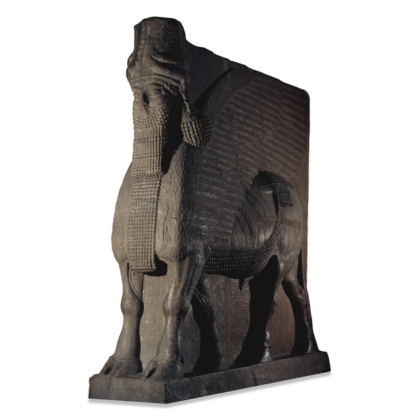 Large stone sculptures and reliefs were a striking feature of the palaces and temples of ancient Assyria (modern northern Iraq). An entrance to the royal palace of King Ashurnasirpal II (883-859 BC) at Nimrud was flanked by two colossal winged human-headed lions. A gigantic standing lion stood at the entrance to the nearby Temple of Ishtar, the goddess of war.  These sculptures are displayed in Rooms 6a and 6b alongside fragments and replicas of the huge bronze gates of Shalmaneser III (858-824 BC) from Balawat.  A Black Obelisk also on display shows the same king receiving tribute from Israel and is displayed with obelisks and stelae (vertical inscribed stone slabs) from four generations of Assyrian kings