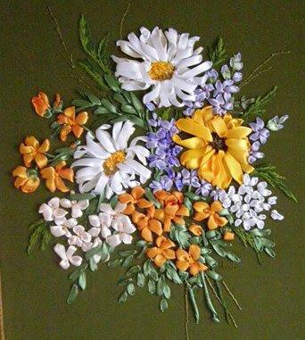 Вышивка лентами схемы цветов