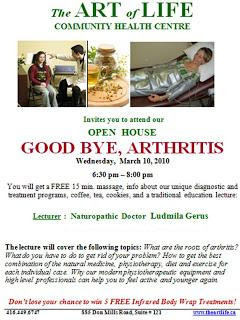 Poster: The Art of Life Health Centre Toronto Open House Goodbye Arthritis Pain