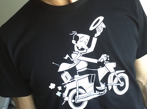 Old man driving a Pappa-Tunturi moped t-shirt print