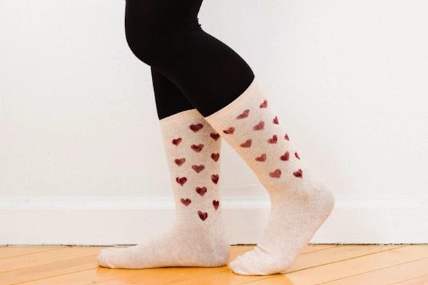 Heart Print Socks DIY