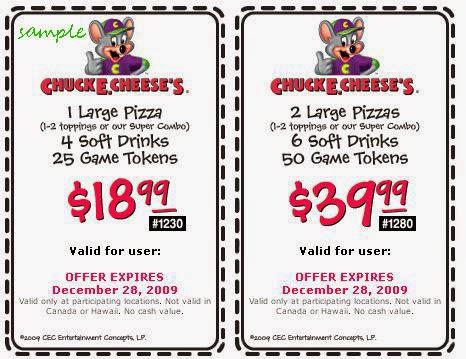 Chuck E Cheese Coupons September 2014