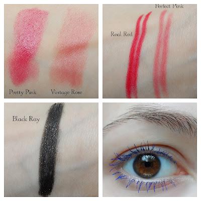 oriflame eyeliner swatch, fat lash mascara, oriflame lipstick swatches