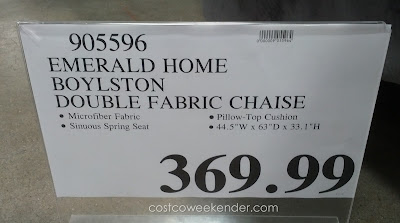 Deal for the Emerald Home Boylston Double Chaise Lounge at Costco