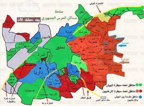 Syrian government declares capital fully under its control   Naples likewise Syrian Civil War in Maps as well Military Situation In Syria On February 6  2018  Map Update further Syria Civil War Map  August 2014   13    Political Geography Now moreover Syrian Civil War Map   Timeline   February 2018   Political furthermore  together with Syria and Rebels Battle for Aleppo as Cease Fire Collapses   The New moreover The Angry Arab News Service وكالة أنباء العربي الغاضب likewise  further Map of Control and Influence   Syria 15 December 2017 furthermore Syria  Mapping the conflict   BBC News further  as well Map Room   Insute for the Study of War besides Mapping Syria   geographical imaginations likewise Will Idlib spell the end of Syria's war    BBC News furthermore Islamic State and the crisis in Iraq and Syria in maps   BBC News. on syria control map