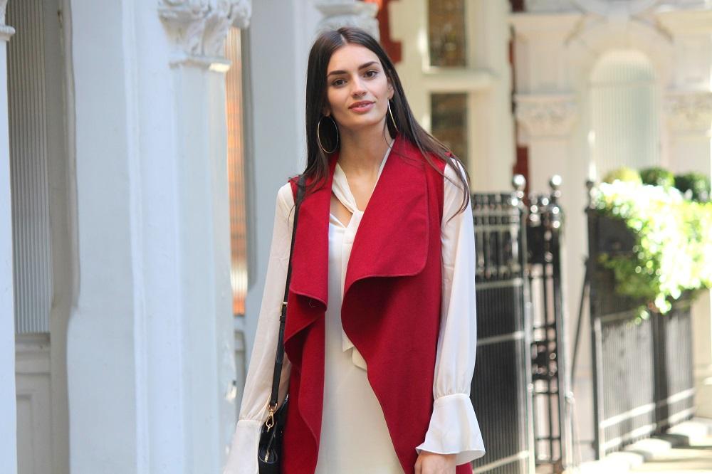 peexo fashion blogger wearing 70s skinny scarf dress and waterfall waistcoat