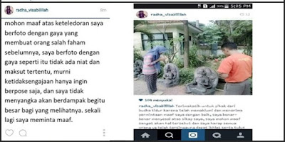 Foto Injak Patung Dewi Tara, Gadis Berhijab Ini Di Kecam