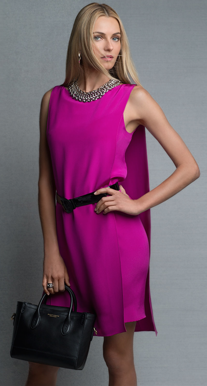 Ralph Lauren Black Label Self-Belt Cape-Back Silk Dress Fuchsia
